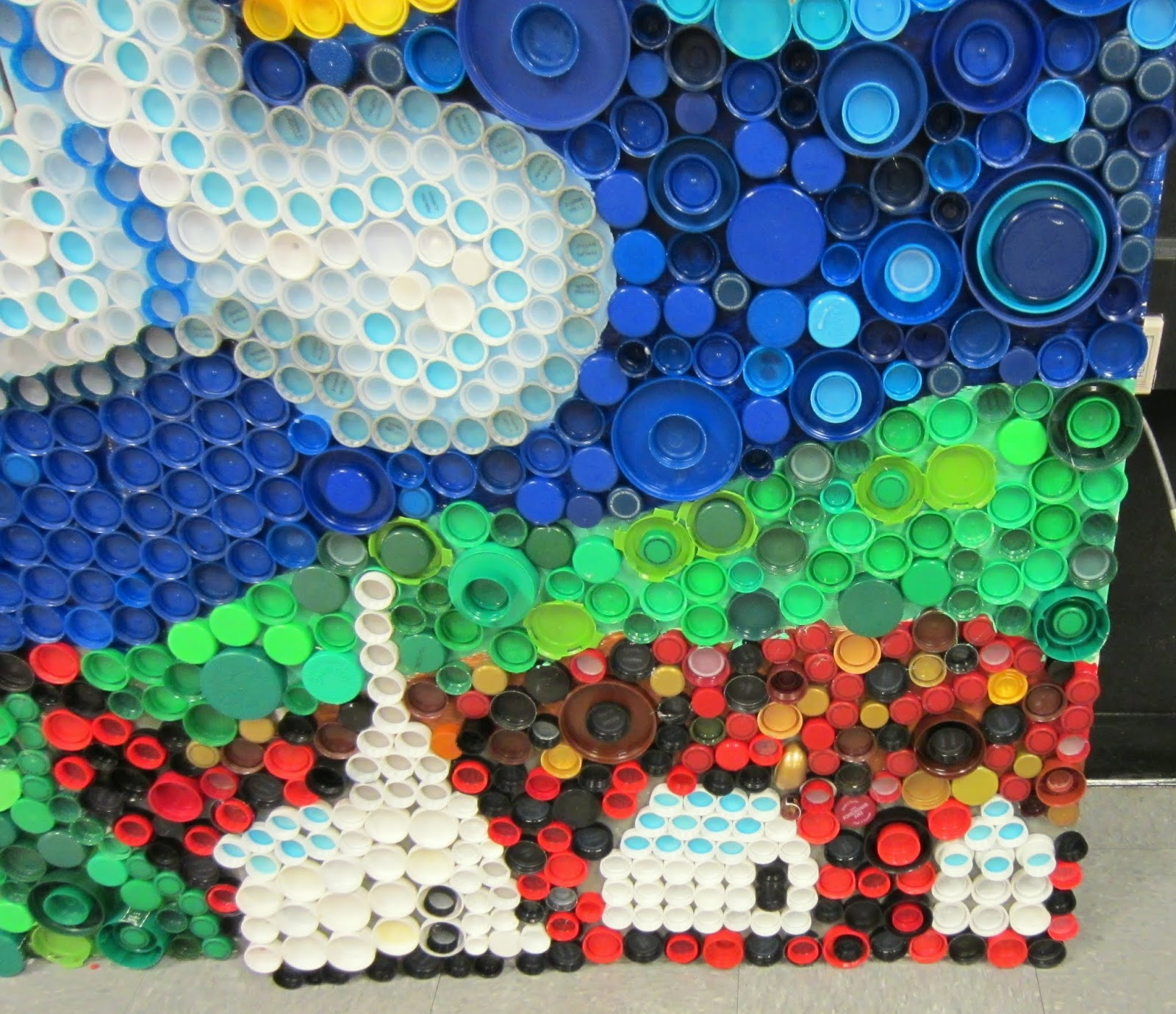 Mrs art teacher every cap counts our bottle cap mural for Bottle cap mural tutorial