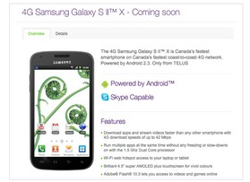 Telus Galaxy S II X with dual-core 1.5 GHz processor