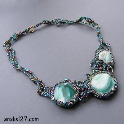 freeform beading necklace free form peyote beadwork agates