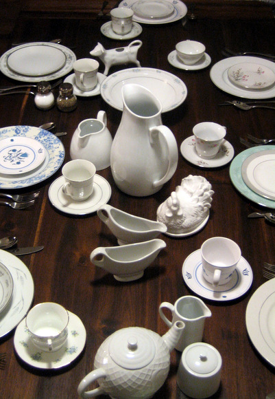Inexpensive china is easy to mix and match and looks fantastic together.