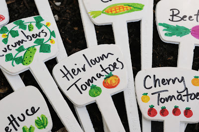 Illustrated plant markers for the vegetable garden.