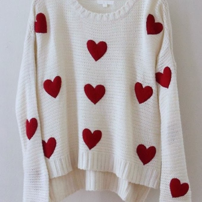 Valentines Day Sweater With Hearts For Woman 63