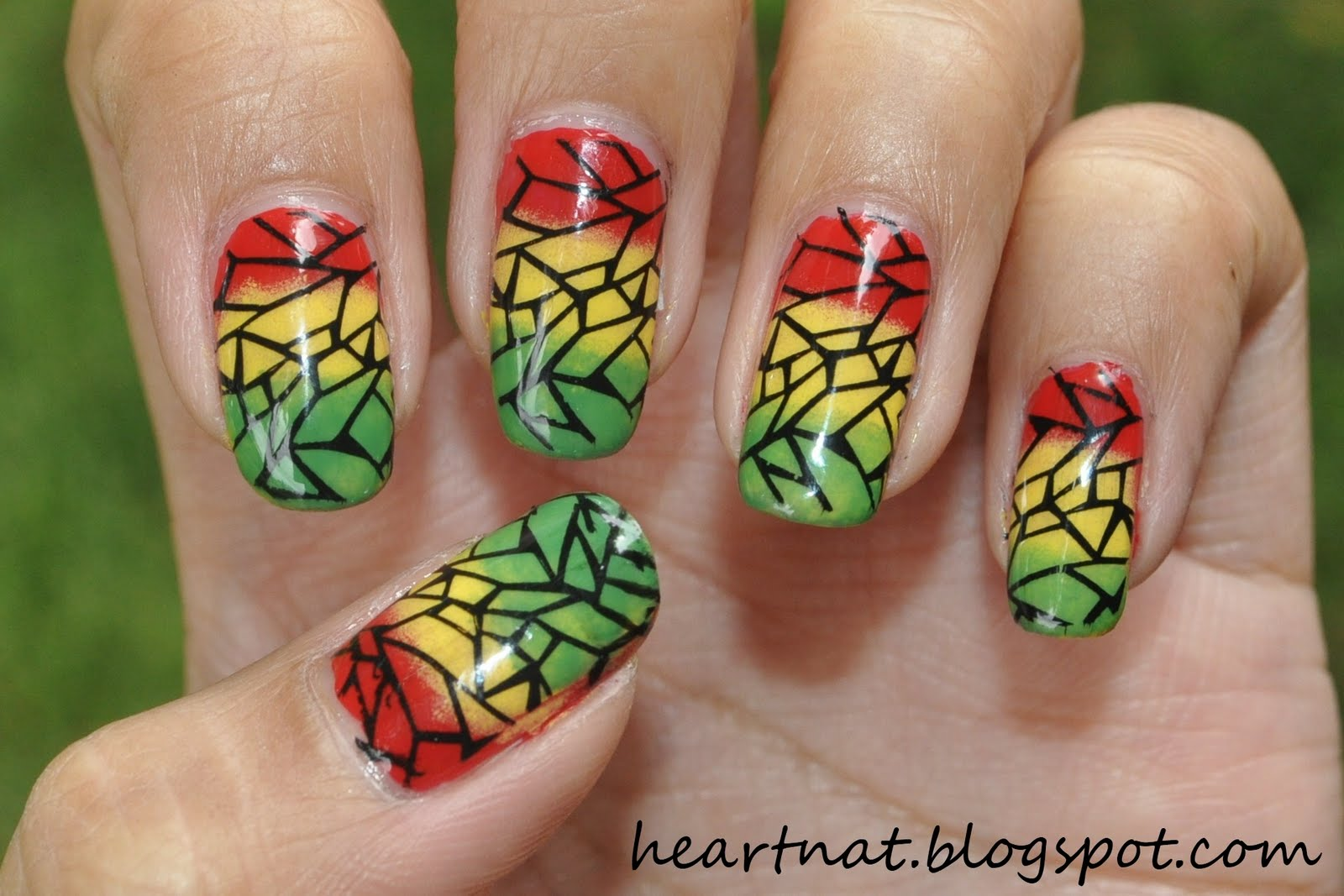 Reggae nail art choice image nail art and nail design ideas french nail art reggae inspired nails dont mind my thumb i forgot to sponge all the prinsesfo Choice Image