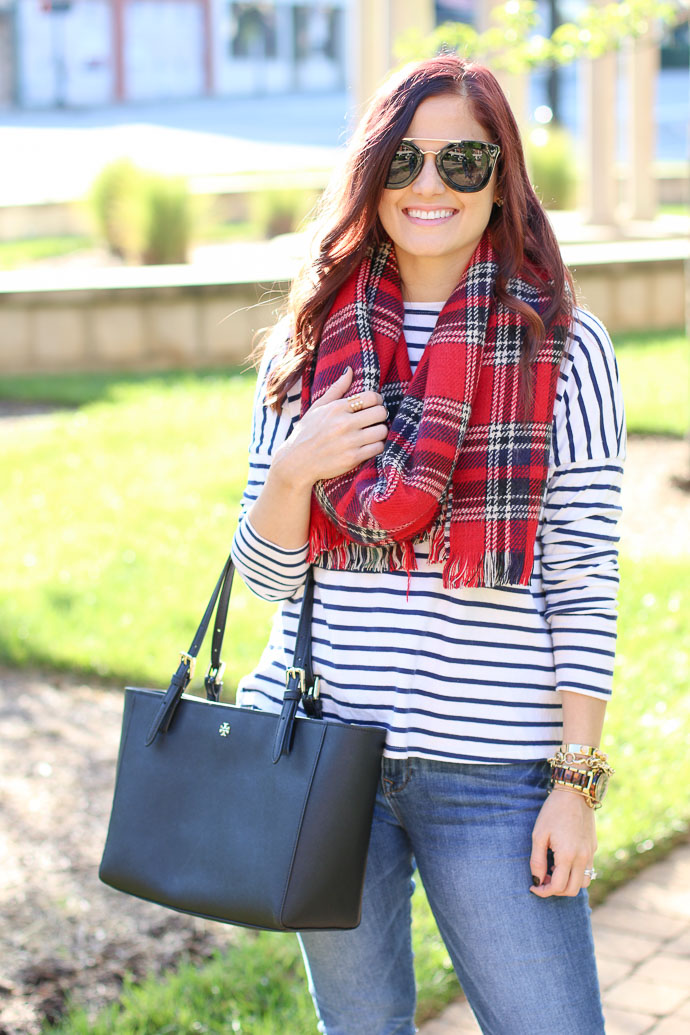 stripe shirt plaid scarf
