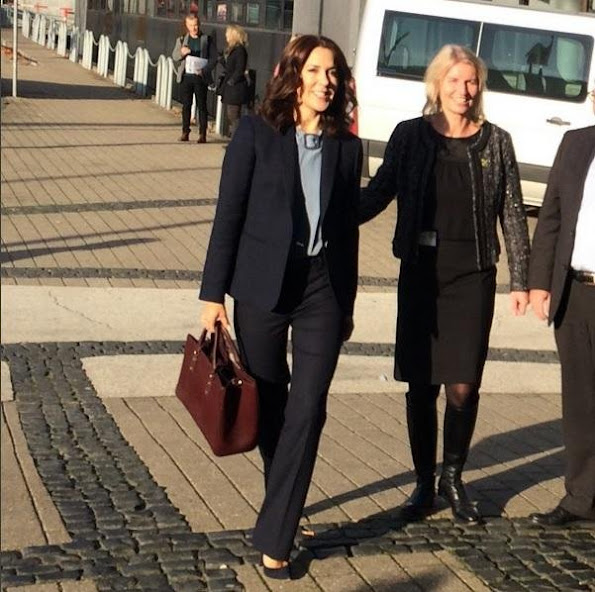 Crown Princess Mary of Denmark attended a conference about child welfare on the recreational life with Helle Østergaard of Director of Mary Fonden at the House of Sports