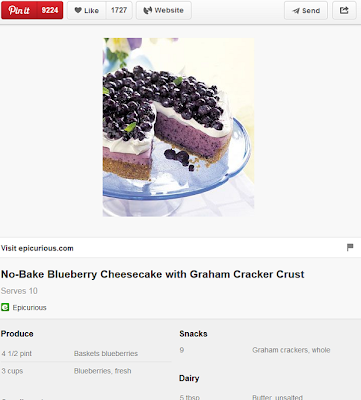 Epicurious - Pinterest - Blueberry Cheesecake Recipe