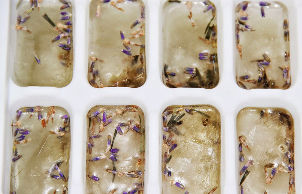 lavender tea infused ice cubes