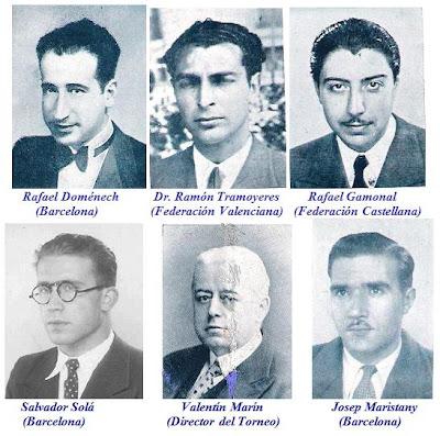 Rafael Doménech (Barcelona), Dr. Ramón Tramoyeres (Federación Valenciana), Rafael Gamonal (Federación Castellana), Salvador Solá (Barcelona), Valentín Marín (Director del Torneo) y Josep Maristany (Barcelona)