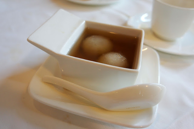 tapioca rice ball in a lightly ginger flavored syrup