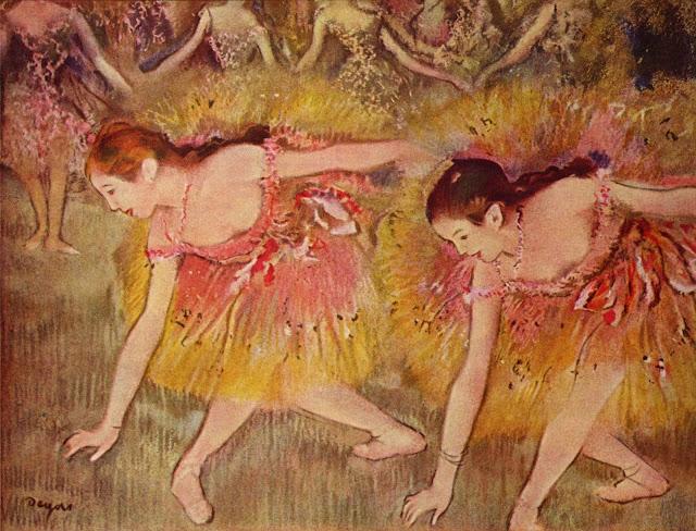 dancers bending down,edgar degas painting,edgar degas ballerina