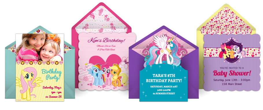 Equestria Daily Mlp Stuff Online Pony Invitations At Punchbowl