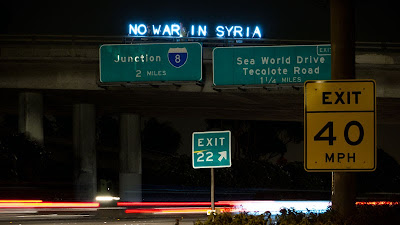 NO WAR IN SYRIA - Overpass Light Brigade San Diego