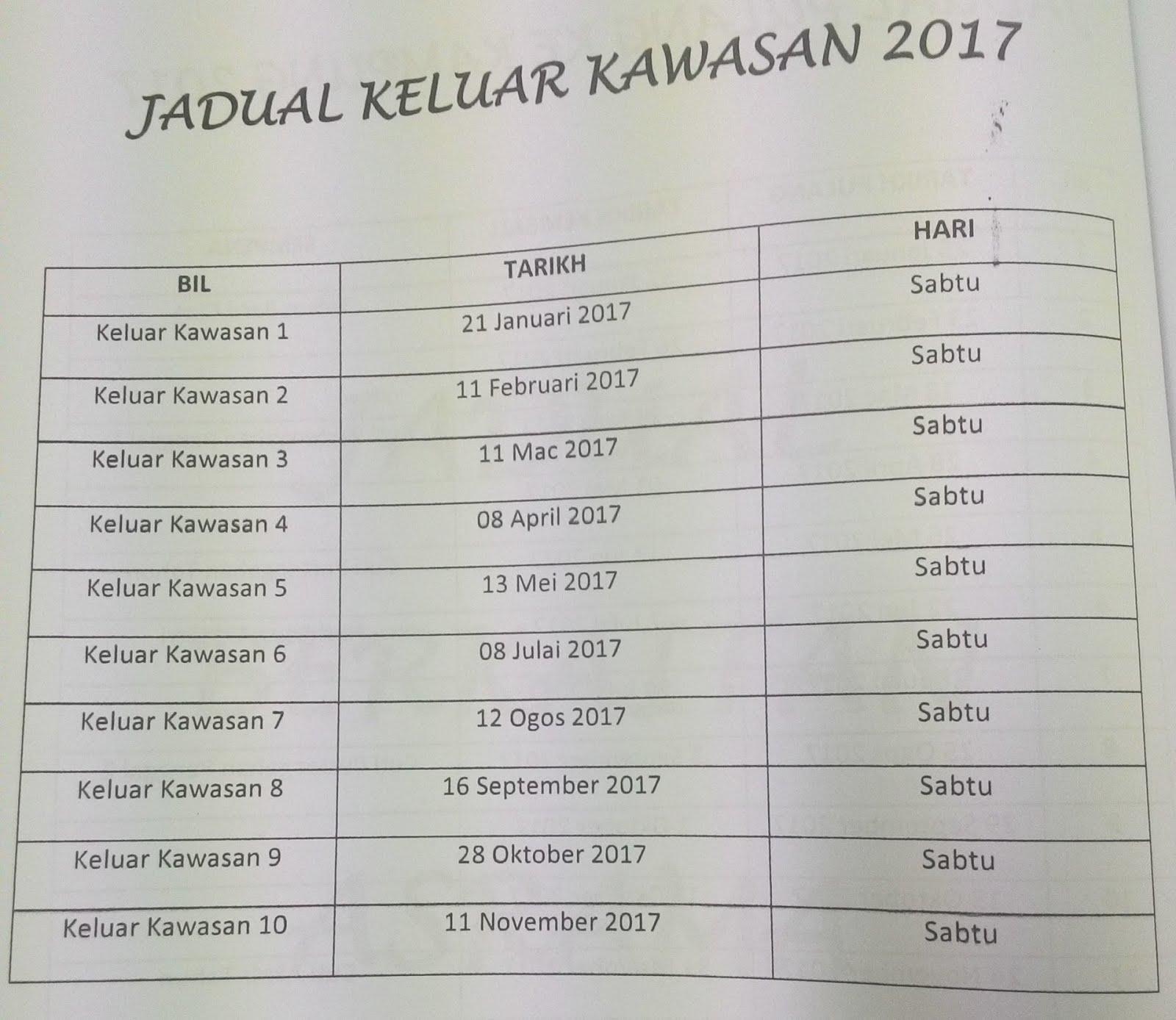 JADUAL KELUAR KAWASAN 2017
