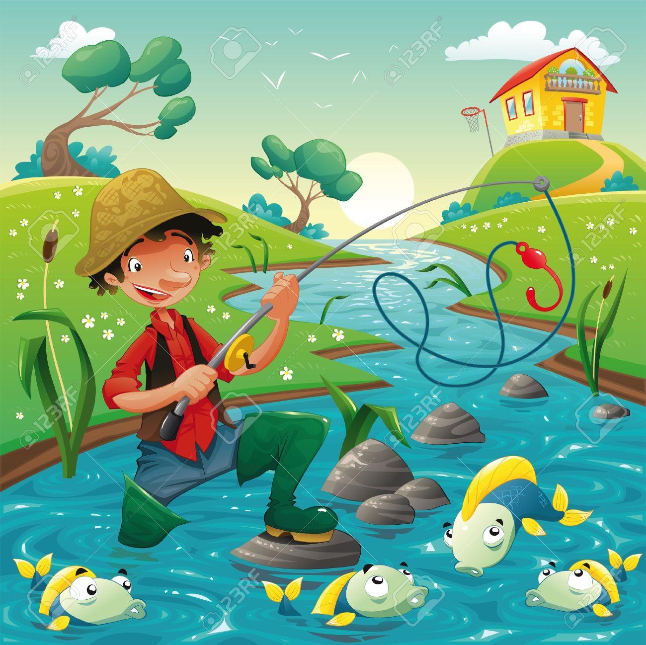 картина на рыбалке для детского сада