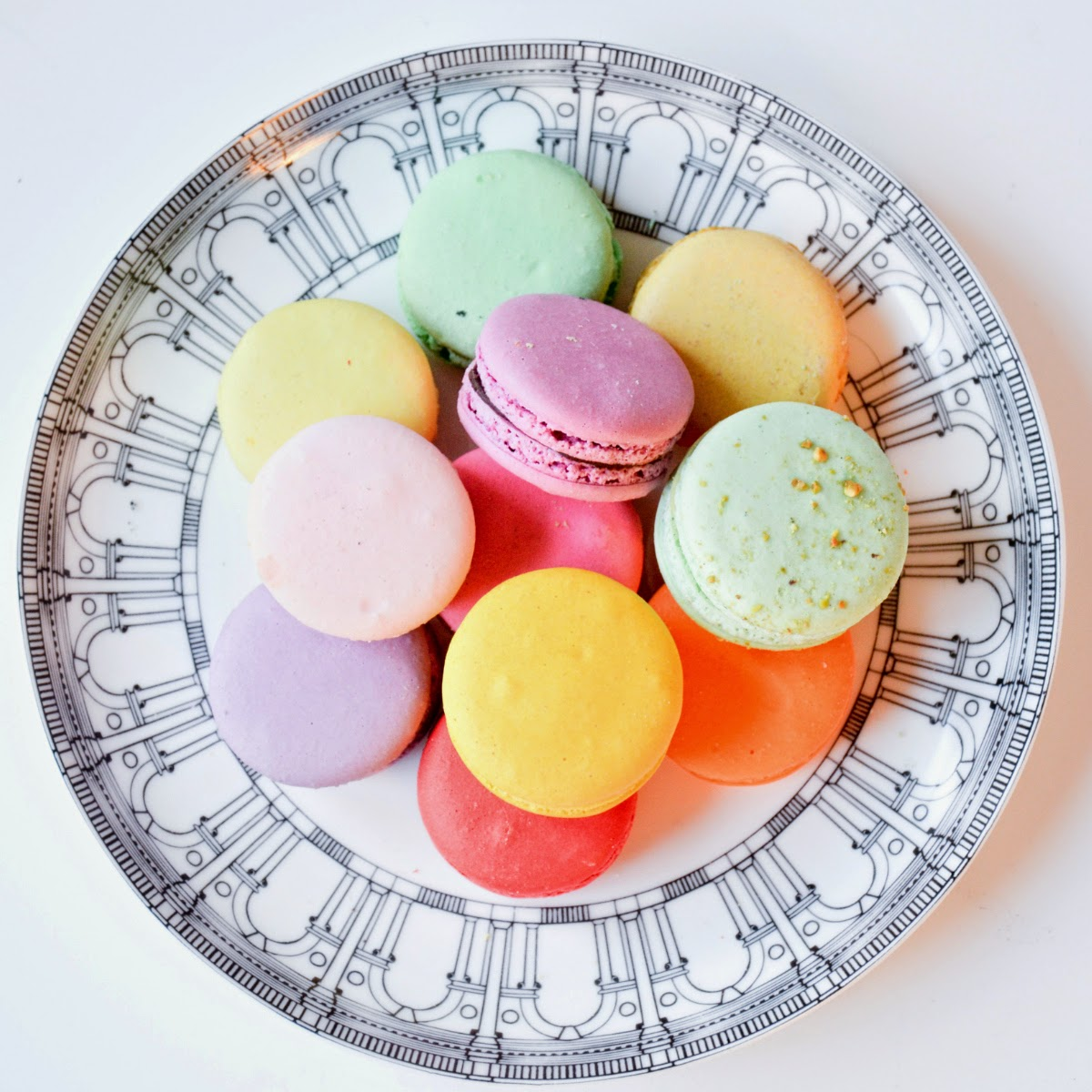 colorful Macarons in Brian Glucktein Architectural series plate from the Husdons Bay