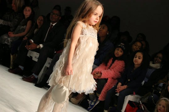 Chichi Mary | petitePARADE Fashion Show Fall 2015: Biscotti and Kate Mack champagne gold dress with tulle drapery