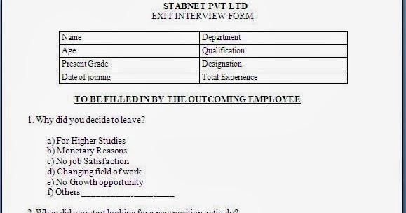 exit interview form format