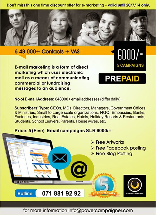 5 Email ads for 6000/= (Limited)