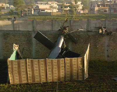stealth helo wreck - Bin Laden compound