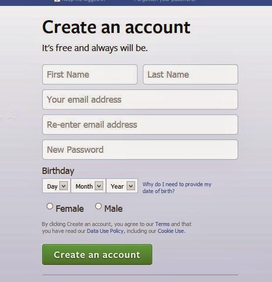Form Pendaftaran Facebook