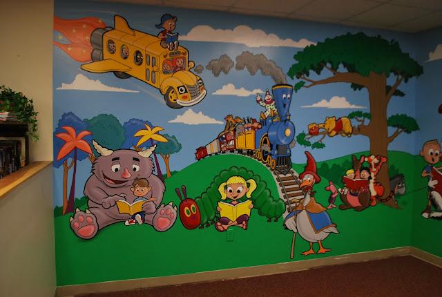 Summer Classroom Decoration ~ Russ mills illustration school library mural