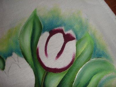 pintura em tecido como fazer tulipa