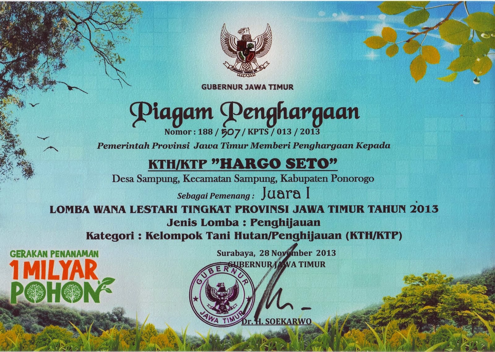 Piagam Lomba Tingkat Provinsi Jawa Timur