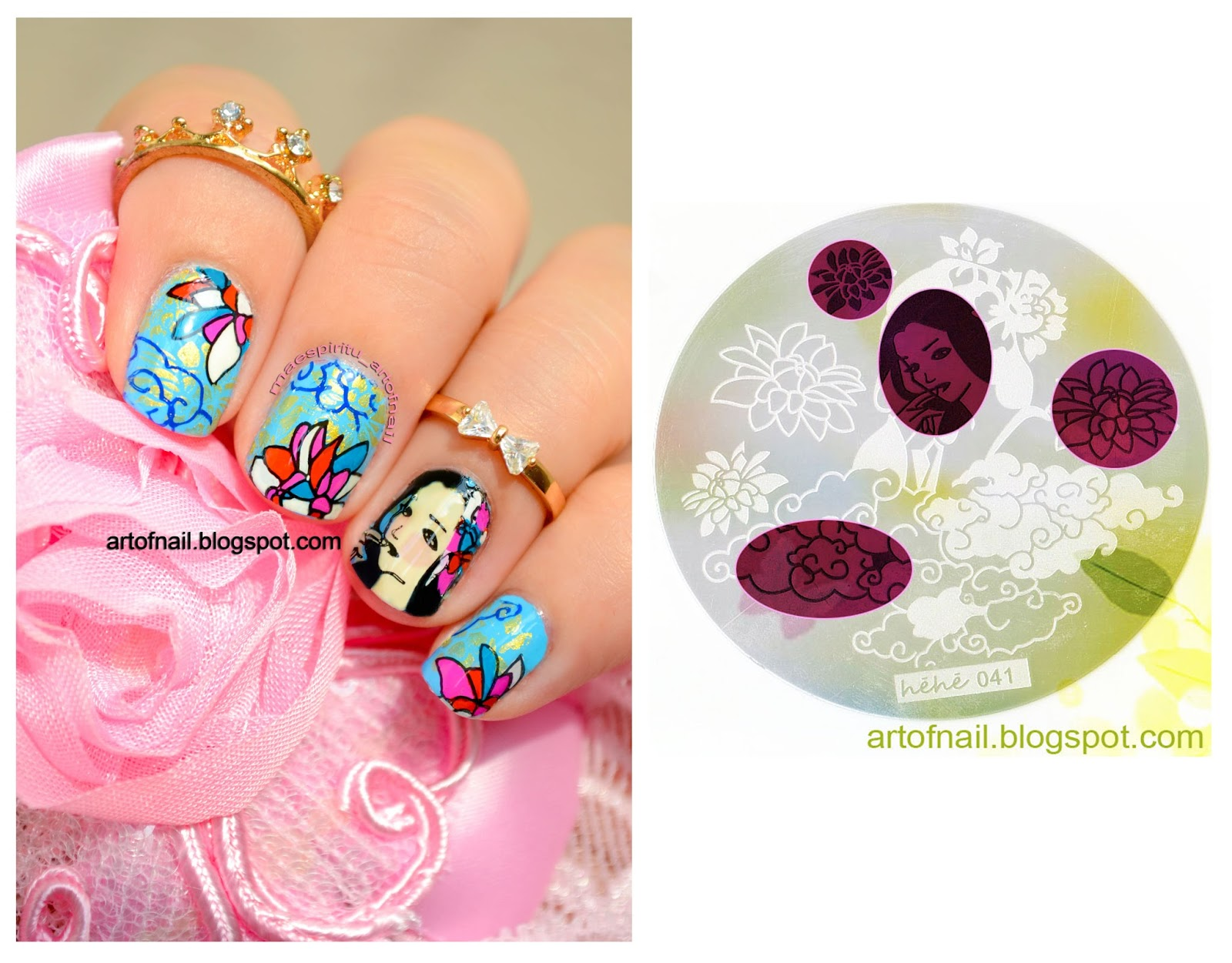 Art of nail october 2015 lotus cloud woman flower nail art stamp template image plate hehe041 299 usd prinsesfo Gallery