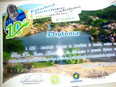 Diploma do 10º encontro dos Jornalista,Radialista,Blogueiro do estado do Ce 2012 ACEJI em Saboeiro.