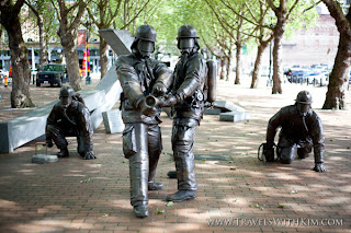 Hai Ying Wu sculpture of Fallen Firefighters, Pioneer Square, Seattle WA