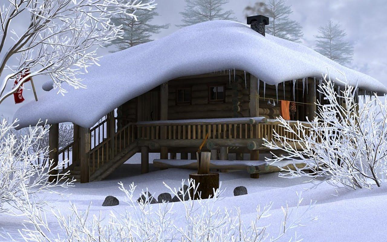 Cabane De Lemn  Iarna La Munte