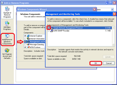 Install snmp in windows XP