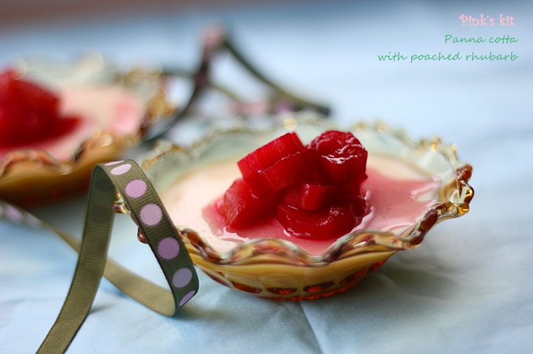Panna cotta with poached rhubarb | pink's kit