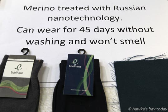 Merino treated with Russian nanotechnology, can wear for 45 days without washing and won't smell - One of the displays set up for woolgrowers and clients of Segard Masurel who visited Hawke's Bay Woolscourers, Awatoto, Napier, part of a tour of wool-related industries around Hawke's Bay. photograph