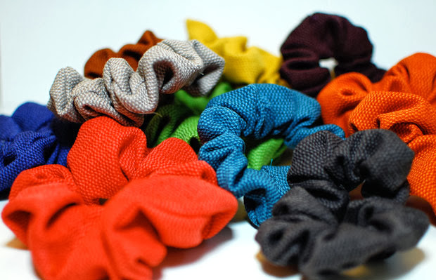 Hair scrunchies in bright colours
