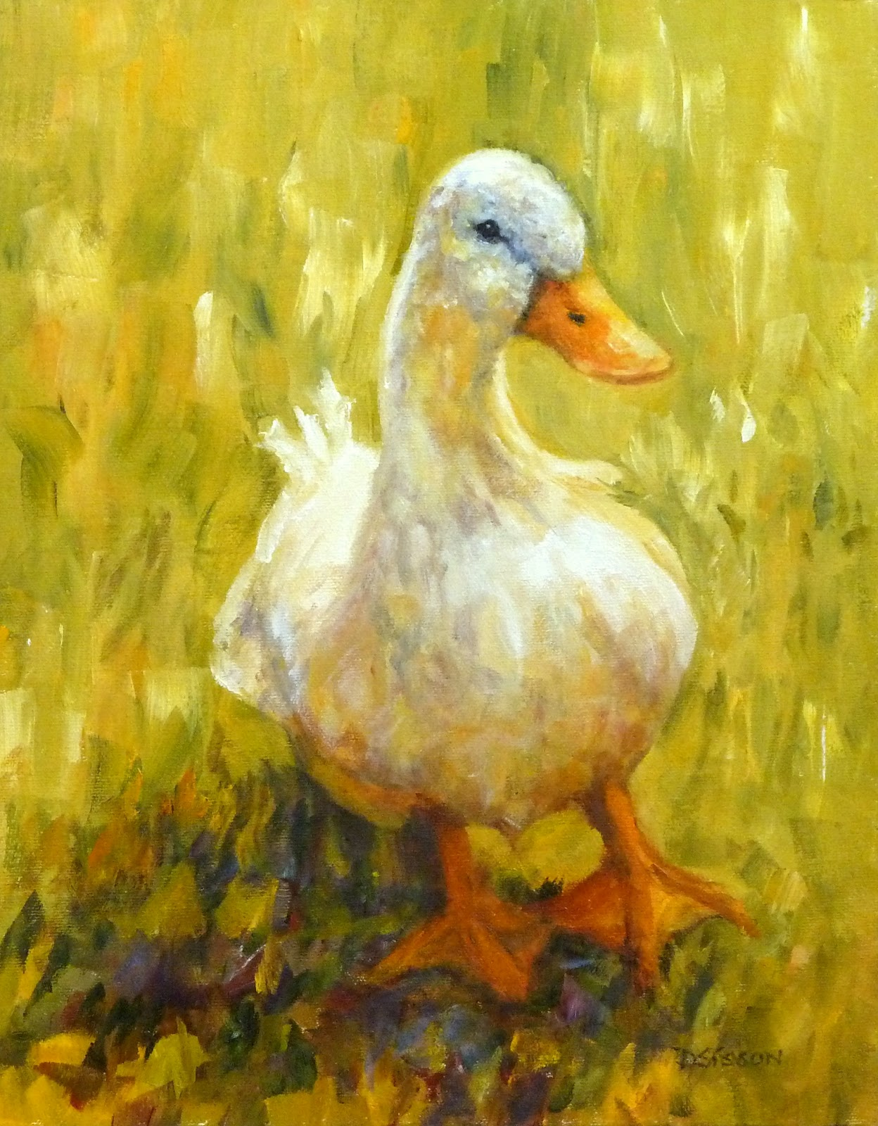 Daily painters of arkansas sunny side duck debra sisson for Animal oil paintings