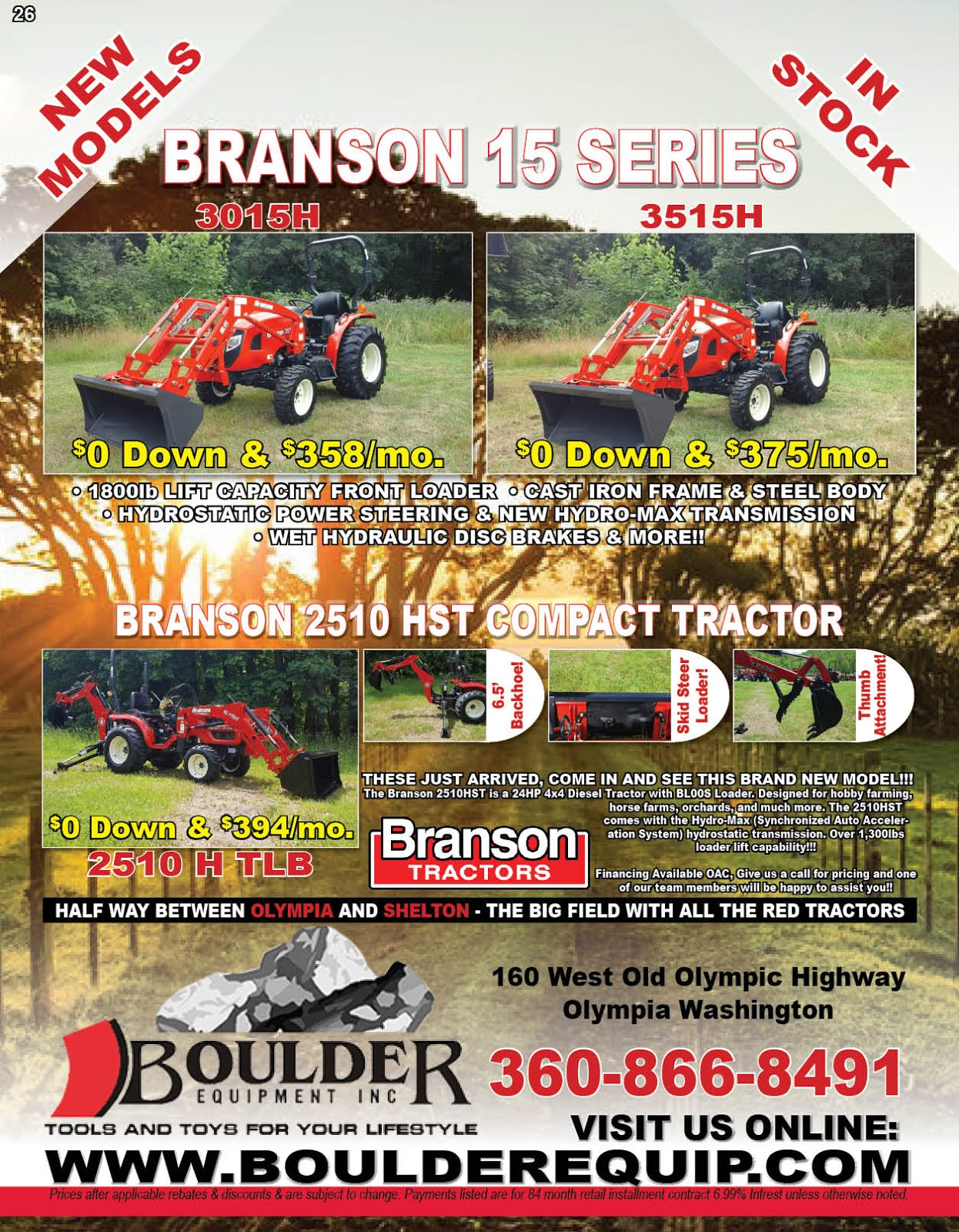Boulder Equipment Has the New Branson 25 Series Premium Diesel Tractors
