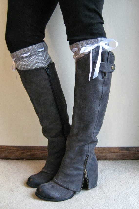 Combination of Long Black Boots and Grey Socks