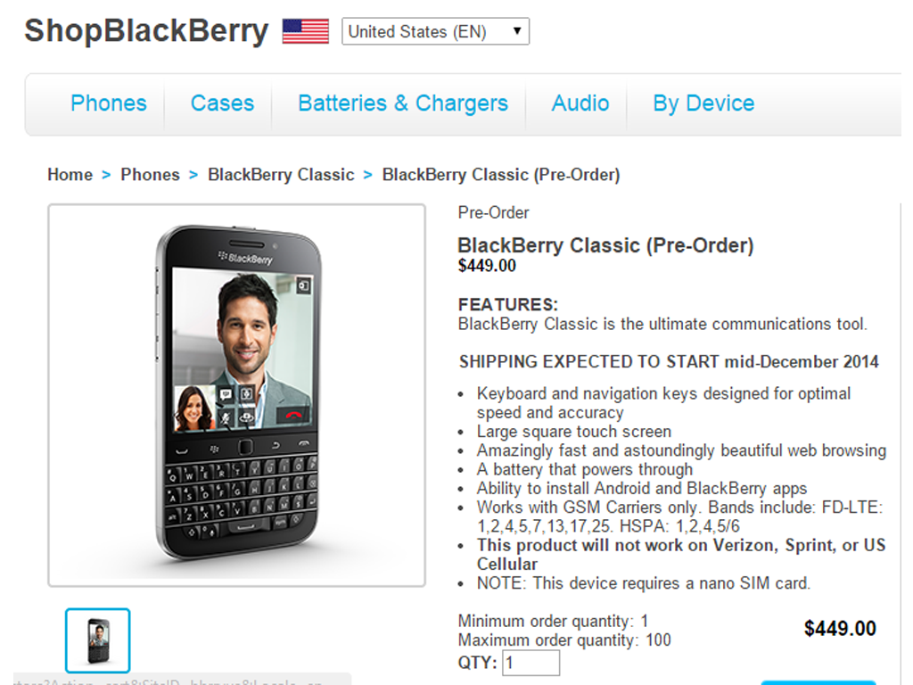 Blackberry Classic's Pre-order Page Launched. Price At $499
