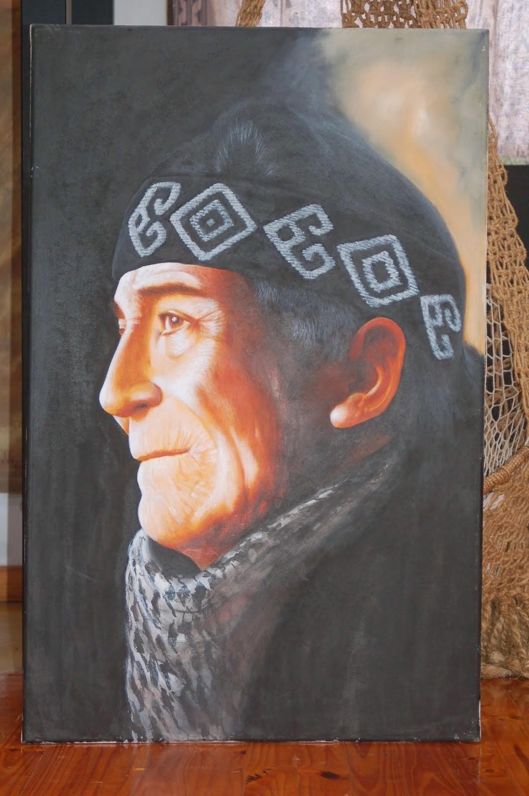 lonco mapuche ( acrilico )