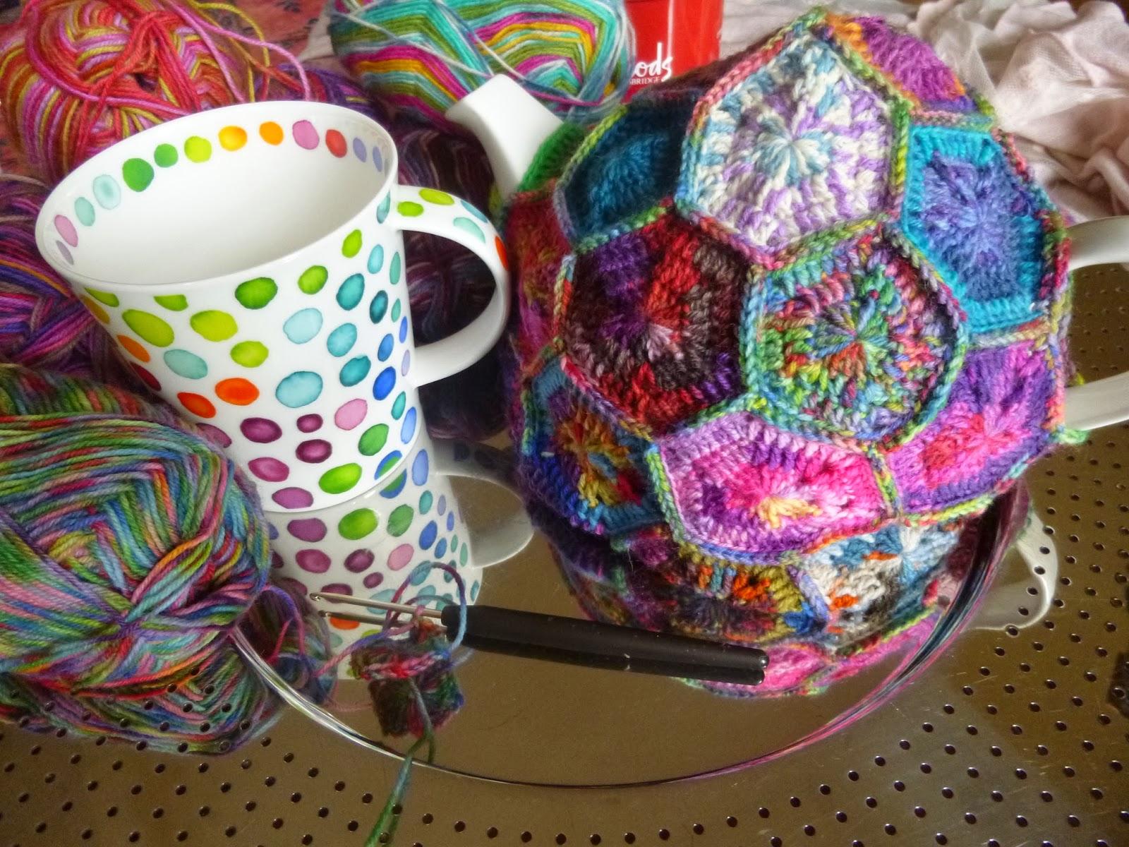 Häkeln im Quadrat: Teewärmer - Hexagon Tea Cozy