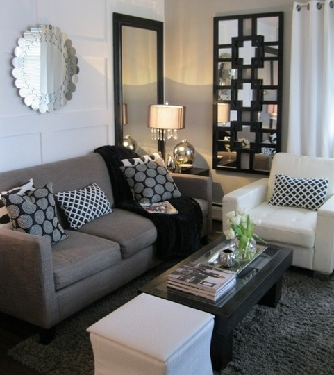 Los archivos de ambienty idea para departamentos chicos for Grey black and white living room