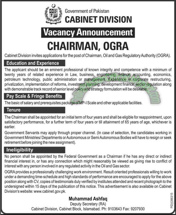 Chairman Ogra Cabinet Division jobs islamabad 2016