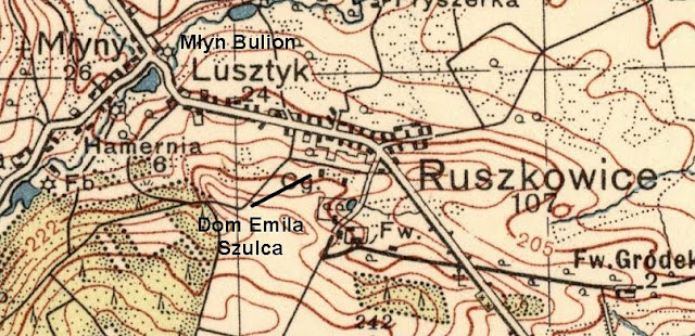 Wieś Młyny k. Ruszkowic, mapka - dodatkowo zaznaczona lokalizacja młyna Bulion i domu Emila Szulca. Foto. Jacek Lombarski.