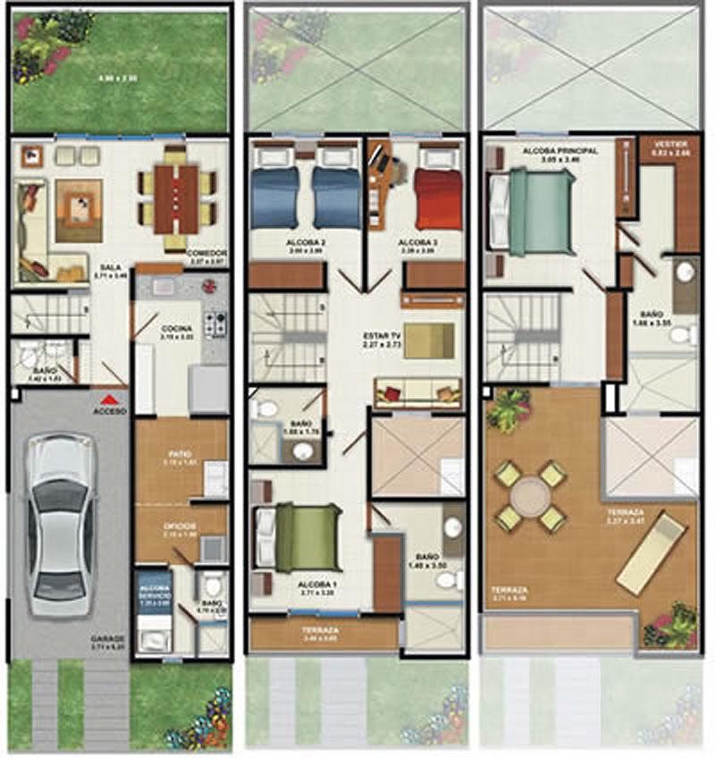 planos arquitectonicos de condominio en 3 niveles