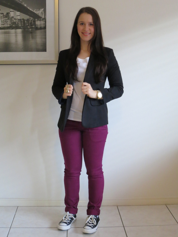Purple chino jeans, white t-shirt, black blazer, converse sneakers and gold jewellery