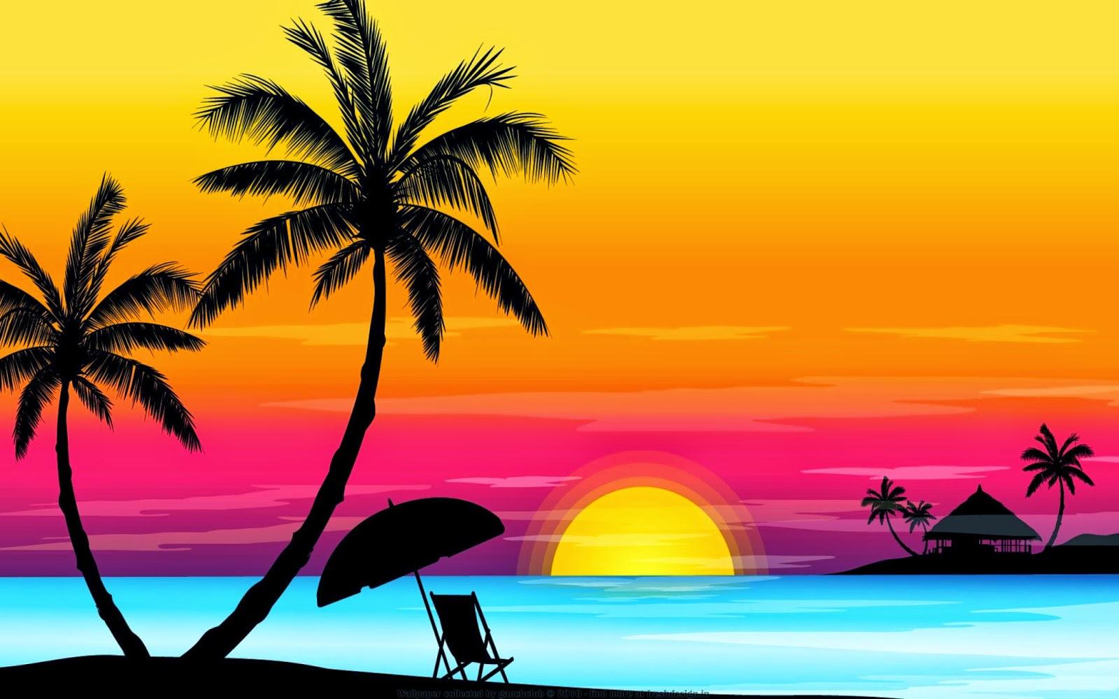 Zomer achtergrond met palmbomen