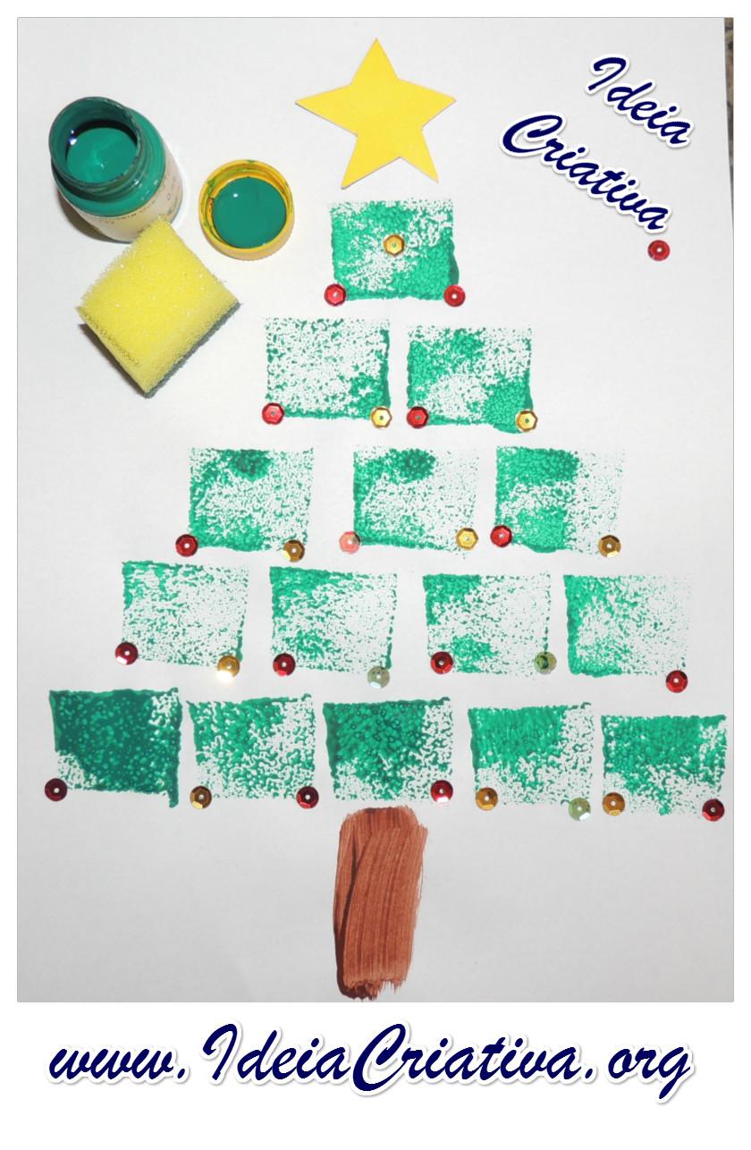 Rvore de natal pintura esponjada ideia criativa gi for Mural de natal 4 ano