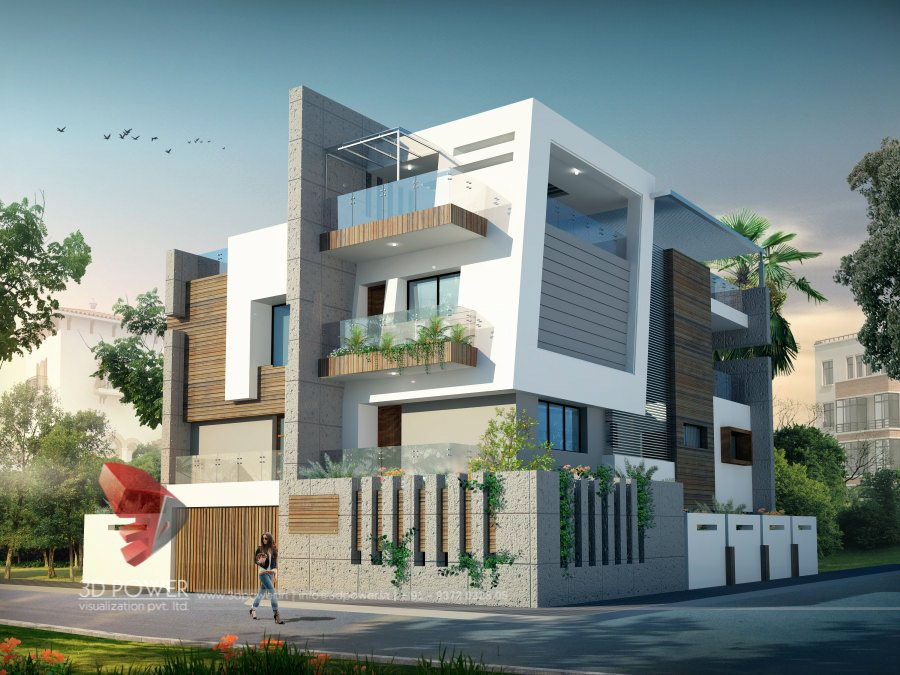 3d architectural villa rendering for Elevated modern house design
