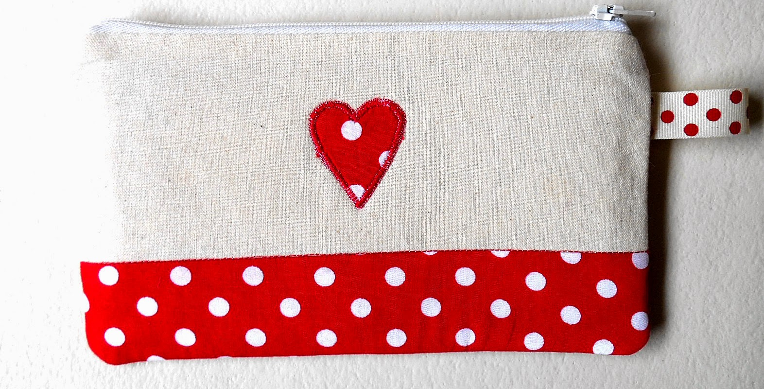 Linen and Polka Dot Red Zipper Pouch Back View